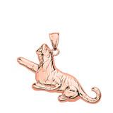 Solid Rose Gold Big Cat Roaring Tiger Pendant Necklace