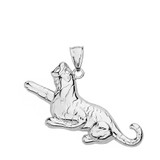 Solid White Gold Big Cat Roaring Tiger Pendant Necklace