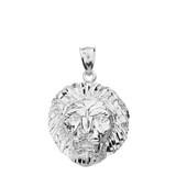 Solid White Gold Diamond Cut Leo Zodiac Roaring Lion Head Pendant Necklace