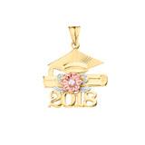 2018 Graduation Pendant Necklace with Diamond and Tri-Tone Gold