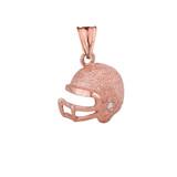 Textured Rose Gold Diamond Football Player Helmet Pendant Necklace