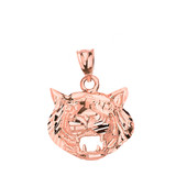 Solid Rose Gold Diamond Cut Roaring Tiger Head Pendant Necklace