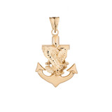 American Eagle Mariners Anchor Pendant Necklace in Yellow Gold
