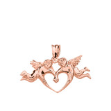Solid Rose Gold Cherub Angels Love Heart Pendant Necklace