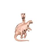 Solid Rose Gold Spinosaurus Dinosaur Pendant Necklace