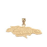 Jamaica Map Pendant Necklace in Solid Gold (Yellow/Rose/White)