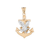 American Eagle Mariners Anchor Pendant Necklace in Two Toned Yellow Gold