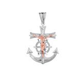 Mariners Anchor Crucifix Pendant Necklace in Two Toned Solid White Gold