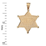 Sheriff Badge 6 Point Star Pendant Necklace in Solid Gold (Yellow/Rose/White)