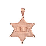 Solid Rose Gold Sheriff Badge 6 Point Star Pendant Necklace