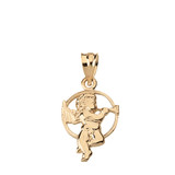 Solid Yellow Gold Diamond Cut Cherub Angel Circle Pendant Necklace