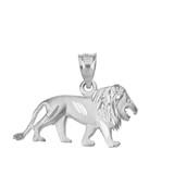 Sterling Silver Sparkle Cut Leo Zodiac Royal Lion Pendant Necklace
