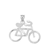 Sterling Silver Sparkle Cut Bicycle Pendant Necklace