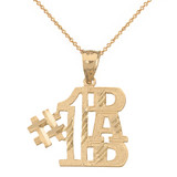 Sparkle Cut Number One Dad Pendant Necklace in Gold (Yellow/Rose/White)