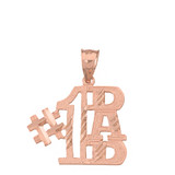 Solid Rose Gold Sparkle Cut Number One Dad Pendant Necklace