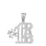 Solid White Gold Sparkle Cut Number One Dad Pendant Necklace