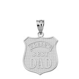 Solid White Gold Matte and Shiny World's Best Dad Badge Pendant Necklace