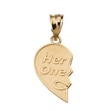 Her One His Only Break Apart Heart 2 - Piece Pendant Necklace in Solid Gold (Yellow/Rose/White)