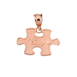 Solid Rose Gold Her One His Only Break Apart Puzzle  2 - Piece Pendant Necklace