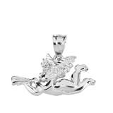 Sterling Silver Cherub Angel Pendant Necklace