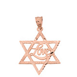 Solid Rose Gold Sparkle Cut Star of David with Cursive Love Font Pendant Necklace