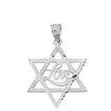 Solid White Gold Sparkle Cut Star of David with Cursive Love Font Pendant Necklace