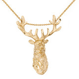 Stag Deer Head Pendant Necklace in Gold (Yellow/Rose/White)