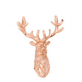 Solid Rose Gold Stag Deer Head Pendant Necklace