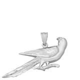 Solid White Gold Sparkle Cut Parrot on Branch Pendant Necklace