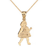Little Girl Pendant Necklace in Solid Gold (Yellow/Rose/White)