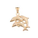 Textured Yellow Gold Three Diamond Dolphins Pendant Necklace