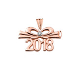 Dainty Diamond 2018 Bow And Diploma Graduation Pendant Necklace In Rose Gold