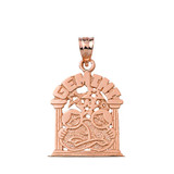 Solid Rose Gold Zodiac Gemini Pendant Necklace