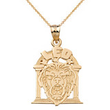 Zodiac Leo Pendant Necklace in Solid Gold (Yellow/Rose/White)