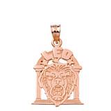 Solid Rose Gold Zodiac Leo Pendant Necklace