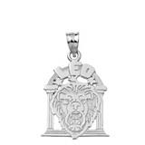 Solid White Gold Zodiac Leo Pendant Necklace