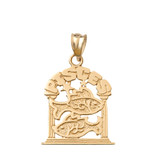 Zodiac Pisces Pendant Necklace in Solid Gold (Yellow/Rose/White)