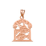 Solid Rose Gold Zodiac Pisces Pendant Necklace