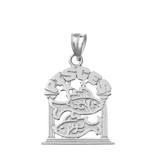 Solid White Gold Zodiac Pisces Pendant Necklace