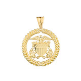 U.S Coast Guard Pendant Necklace in Solid Yellow Gold