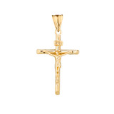 Dainty Crucifix Cross (INRI) Pendant Necklace in Yellow Gold