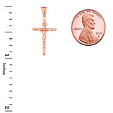Dainty Crucifix Cross (INRI) Pendant Necklace in Rose Gold