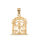 Zodiac Libra Pendant Necklace in Solid Gold (Yellow/Rose/White)