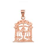 Solid Rose Gold Zodiac Libra Pendant Necklace