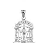 Solid White Gold Zodiac Libra Pendant Necklace