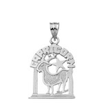 Solid White  Gold Zodiac Capricorn  Pendant Necklace