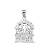 Solid White Gold Zodiac Cancer Pendant Necklace