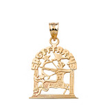 Zodiac Sagittarius Pendant Necklace in Solid Gold (Yellow/Rose/White)