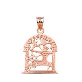 Solid Rose Gold Zodiac Sagittarius Pendant Necklace