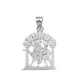 Solid White Gold Zodiac Taurus Pendant Necklace
